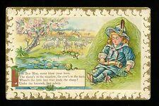 Nursery Rhymes Fantasy Postcard Little Boy Blue sheep cows corn horn Vintage
