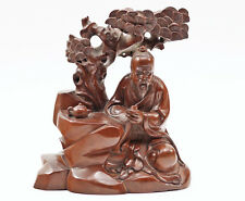 Noble Antique Fine Chinese Scholar Carved Wood Statue w Teapot & Tree