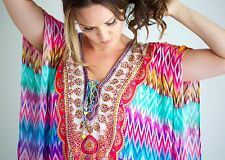 Kaftan dress, embellished Viscose Moroccan inspired print lace up kaftan