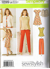 Princess Seam Dress Peplum Top Pants Jacket Sewing Pattern Size 8 10 12 14 16