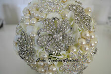 Wedding Brooch Bouquet - Hydrangea Flower Brooch Posy - Ivory