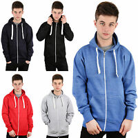 New Mens Boys Plain Zip Fleece Hoodie Hoody Cosy Sweatshirt UK Size S M L XL XXL