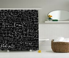Einstein Physics Formula Science Geek Black White Fabric Shower Curtain Gift