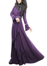 Muslim Abaya  Jilbab Islamic Womens Clothing Long Sleeve Vintage Maxi Dress