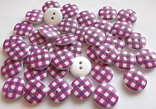 40 x PURPLE/WHITE GINGHAM 2 HOLE WOODEN 15mm BUTTONS, SCRAPBOOKING, CRAFT ETC.,