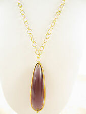 NWT Auth Vince Camuto Gold-Tone Dark Stone Teardrop Pendant Necklace  $68