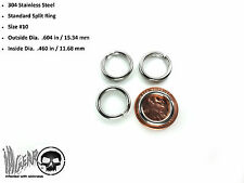 4X Stainless Steel Key Chain Split Ring .604 in /15.34 mm OSD #10 LOT OF 4 RINGS