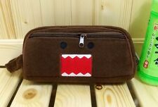 Japanese Anime Domo Kun Plush Pencil Bag Cosmetic Pouch 2-Zipper W/Linning