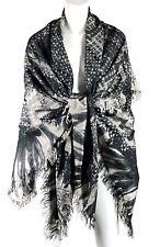 CHANEL Gray Monochrome Fantasy Tweed Macro Knit Print Silk Shawl Wrap