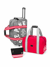 Victorias Secret Pink RETRO 3 Pc Wheelie Luggage Suitcase Carry On Duffle NWT