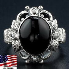Black Onyx 925 Solid Sterling Silver Victorian Style Filigree Ring Sz 8, F7-6