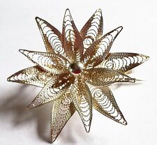 VINTAGE DETAILED 925 SILVER FILIGREE FLOWER BROOCH PENDANT