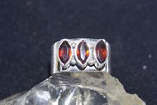 Eleganter Silbering  54 17,2 Silber Ring mit Granat Rot Navette NEU Facettiert