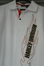 Genuine Harley Davidson H-D Mens Polo Shirt White 100% Cotton XL X-Large NEW