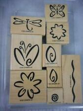 Stampin Up! FRESH FLOWERS 9 Wood Mount Rubber Stamps 2001 dragonfly butterfly AE