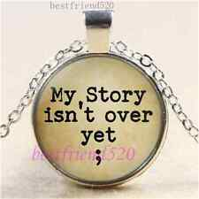 My Story isn't over yet; Cabochon Glass Tibet Silver Chain Pendant Necklace#1I0