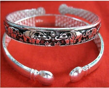 Long Thick Tibetan Silver Plated Carved Family of Elephant Amulet Bracelet -7""