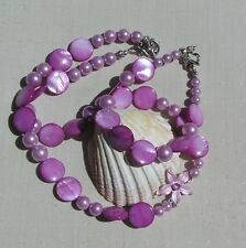 """Necklace & Bracelet Set - Shell Pearl and Mother of Pearl """"Pink Sunrise"""""""