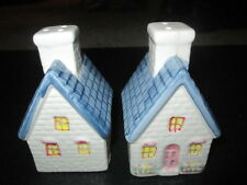 "Ceramic salt and pepper shakers in shape of a house 4"" x 2 1/2"""