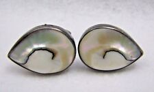 Vintage Sterling Silver Shiva Shell Abalone Cufflinks Set