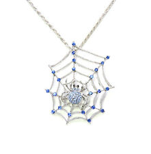 Spider Web Necklace Pendant Blue Rhinestone Crystal For Halloween