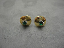 18K SOLID YELLOW + WHITE GOLD CUSTOM VINTAGE DEEP GREEN EMERALD STUD EARINGS