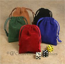 "NEW Set of 5 Small Dice Bags 3"" x 4"" Velveteen Cloth Bag RPG D&D Counter Pouch"