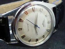 ORIGINAL VINTAGE MEN STAINLESS STEEL 1958 LONGINES AUTOMATIC WATCH SERVICE 19AS