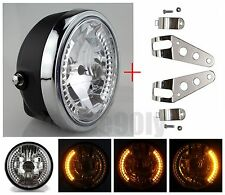 "8"" MOTORCYCLE HEADLIGHT AMBER LED TURN SIGNAL INDICATORS WITH HEAD LIGHT BRACKET"