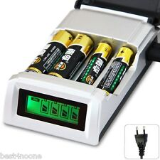 EU Plug 4 Slots LCD Smart Charger for AA / AAA NiCd NiMh Rechargeable Batteries