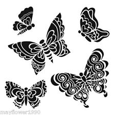 "Crafters Workshop STENCIL  template mask 6"" x 6""  SOLID DOODLE  BUTTERFLIES"
