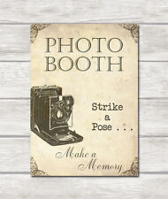 PHOTO BOOTH WEDDING SIGN - Display in your wedding venue - A4- Vintage Inspired