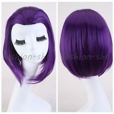 35CM Raven From Teen Titans Short Straight Purple Anime Cosplay Party Full Wig