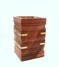Hand Carved Wood Pen Pot Desk Tidy - Square with Brass Detail to Sides