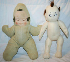 "16.5"" VINTAGE HAND MADE KEWPIE STYLE DOLL & 17"" VINTAGE MOLDED FACE CLOTH DOLL"