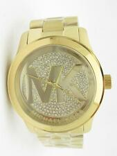 Michael Kors MK-5706 Gold Tone Runway MK Logo Dial Crystal Oversized Watch Gift
