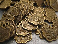 Ancient Chinese Good Wishes Coin Beads Antique Bronze 6pcs