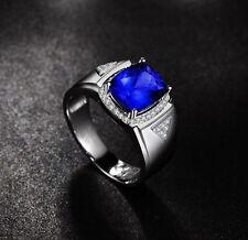 MEN RING SOLID 18K WHITE GOLD STUNNING BLUE TANZANITE ENGAGEMENT DIAMOND RING