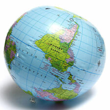 1x PVC Inflatable Blow Up World Globe 40CM Earth Atlas Ball Map Geography Toy
