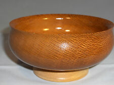 TURNED EXOTIC LEOPARD WOOD AND MAPLE FOOTED BOWL BEAUTIFUL, HANDMADE, OOAK