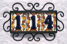 3 Mexican BLUE House Numbers Tiles with HORIZONTAL Iron Frame