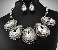 pentand Crystal Bib Statement charm chunky colorful collar Chain Necklace 308