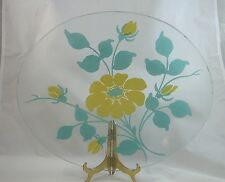 RARE LG Vintage Oval Glass Floral Serving Tray Teal Blue and Yellow Blue Ridge??