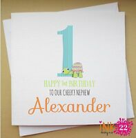 Personalised Boys Turtle Card 1st, 2nd, 3rd Birthday. Son/Grandson Any Age/Name