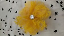 Paparazzi Hair Clip (new) YELLOW LACE FLOWER W GEM CENTER