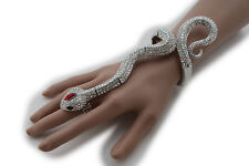 Women Silver Hand Chain Snake Slave Ring Fashion Jewelry Bracelet Elastic Long
