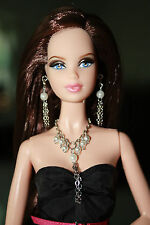 Barbie Doll Jewelry Pearls/Chain Necklace & Earrings Set Handmade Fit Model Muse