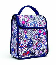 Built NY Girls Insulated Fun School Lunch Sack Box Bag Blue Mosaic Flower Floral