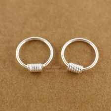 925 Sterling Silver Knot Hoop Huggie Nose Ring Earrings -BABY SIZE 8mm A1744