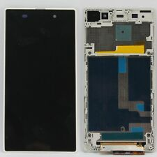 White LCD Display Touch Screen Assembly Frame for Sony Xperia Z1 C6902 C6903